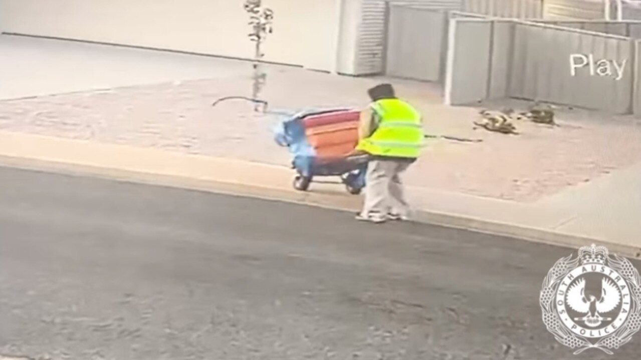 Police have released CCTV footage of a thief wheeling a dishwasher down the street after allegedly stealing it from a house under construction on the Yorke Peninsula. Picture: SAPOL
