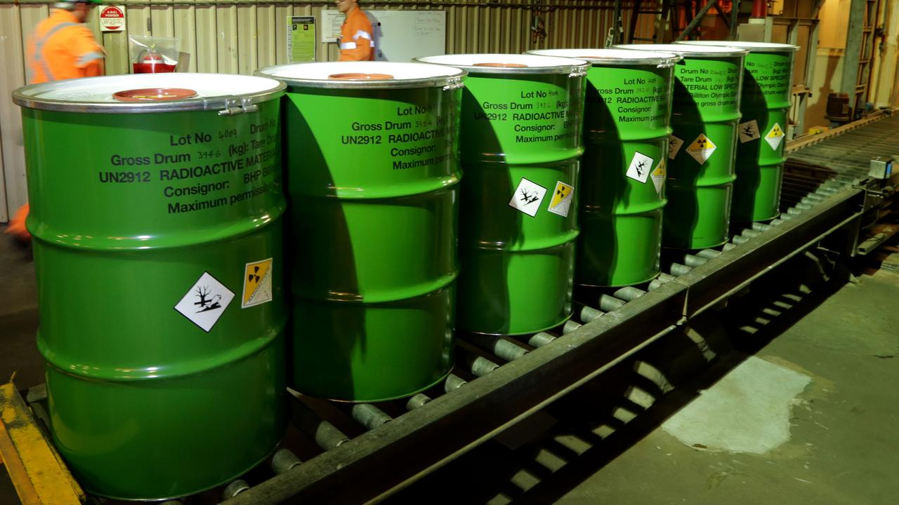 Packaged barrels of Uranium at BHP's Olympic Dam Mine in SA's Far North.