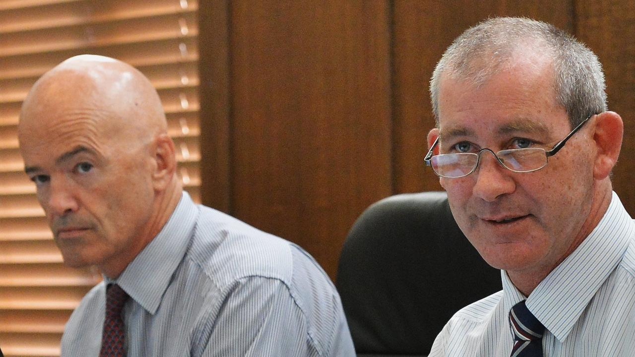 Mayor Mick Curren's first day as Mayor of Gympie Regional Council, to his right is CEO Bernard Smith.
