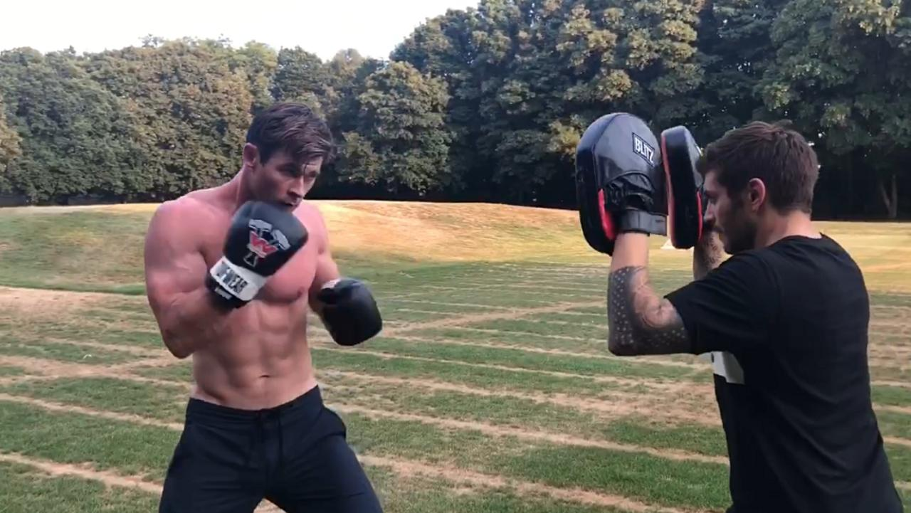Intermittent fasting is a hit with Chris … Hemsworth boxing with personal trainer Luke Zocchi. Both men are setting out on a series of new challenges for a TV show.
