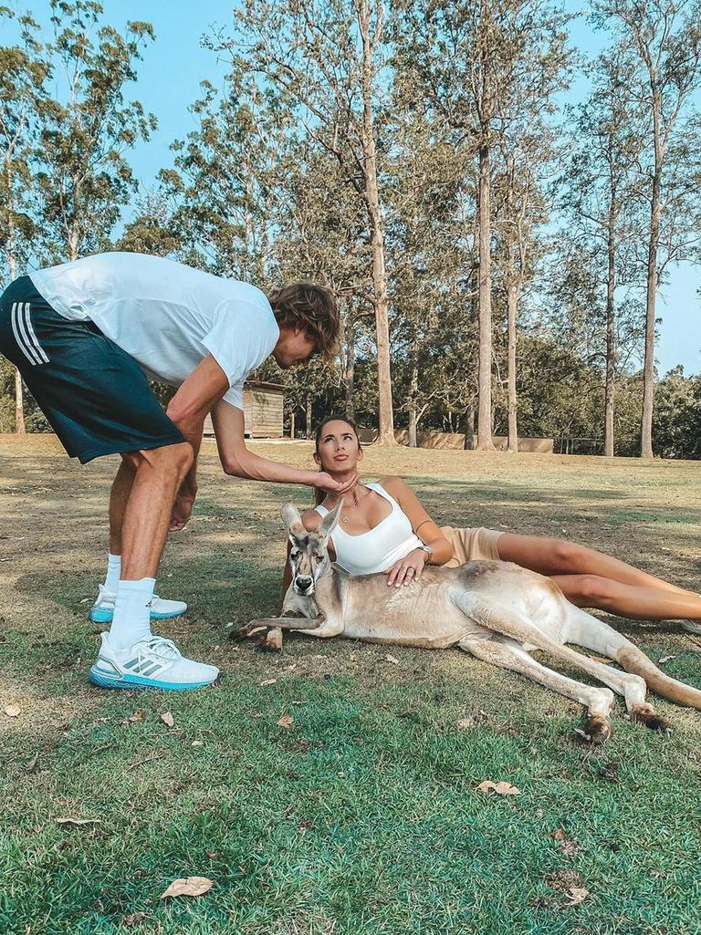 The couple with a roo in Brisbane. Picture: @brendapatea/Instagram