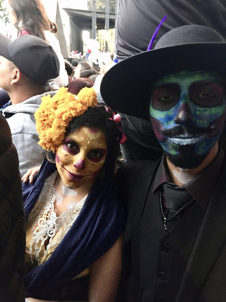 Dia de Muertos (Day of the Dead) parade in Mexico City.