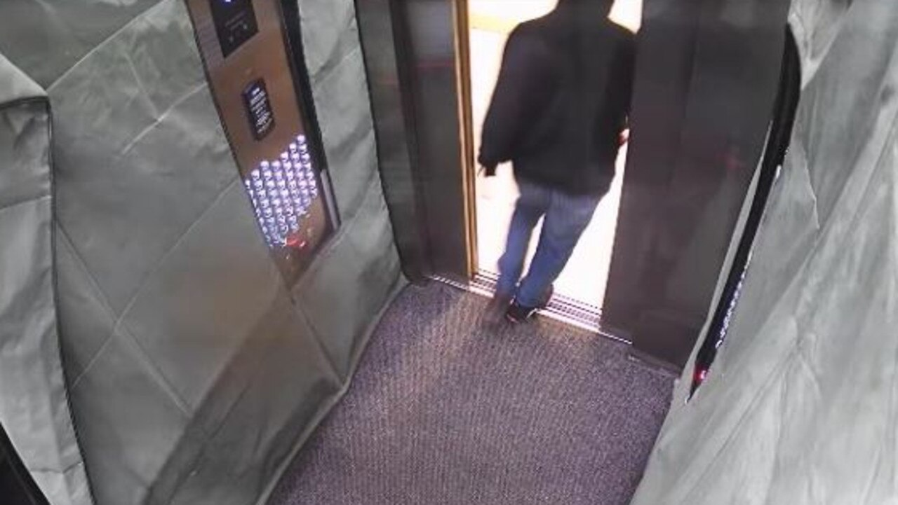 A man seen leaving a lift in Southbank, Melbourne on Saturday, January 18, 2020. Picture: Victoria Police