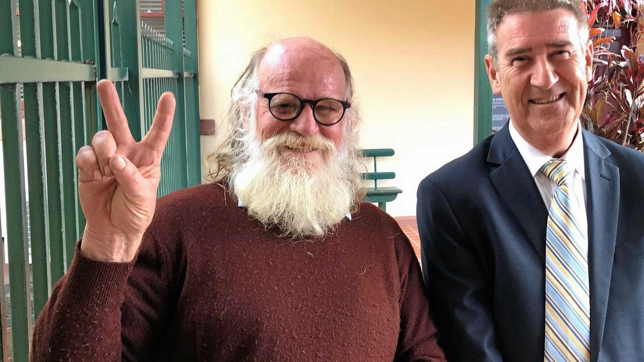Nimbin cannabis campaigner Michael Balderstone and solicitor Steve Bolt outside Ballina Local Court.