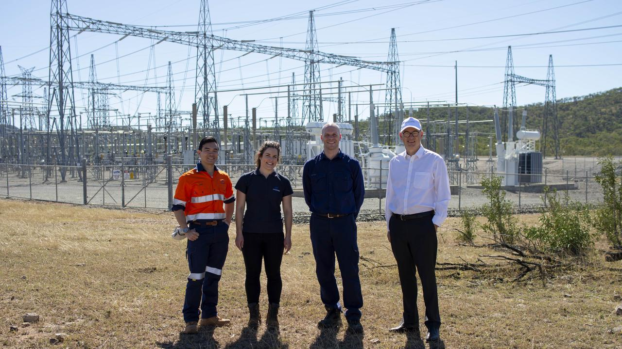 Representatives of the Clarke Creek Wind Farm project team. Goldwind Senior Development Manager Nam Quach, Goldwind Community Engagement Manager Sunny Rutherford, Lacour Energy Director James Townsend (left) and Goldwind Managing Director John Titchen at the Clarke Creek Wind Farm.