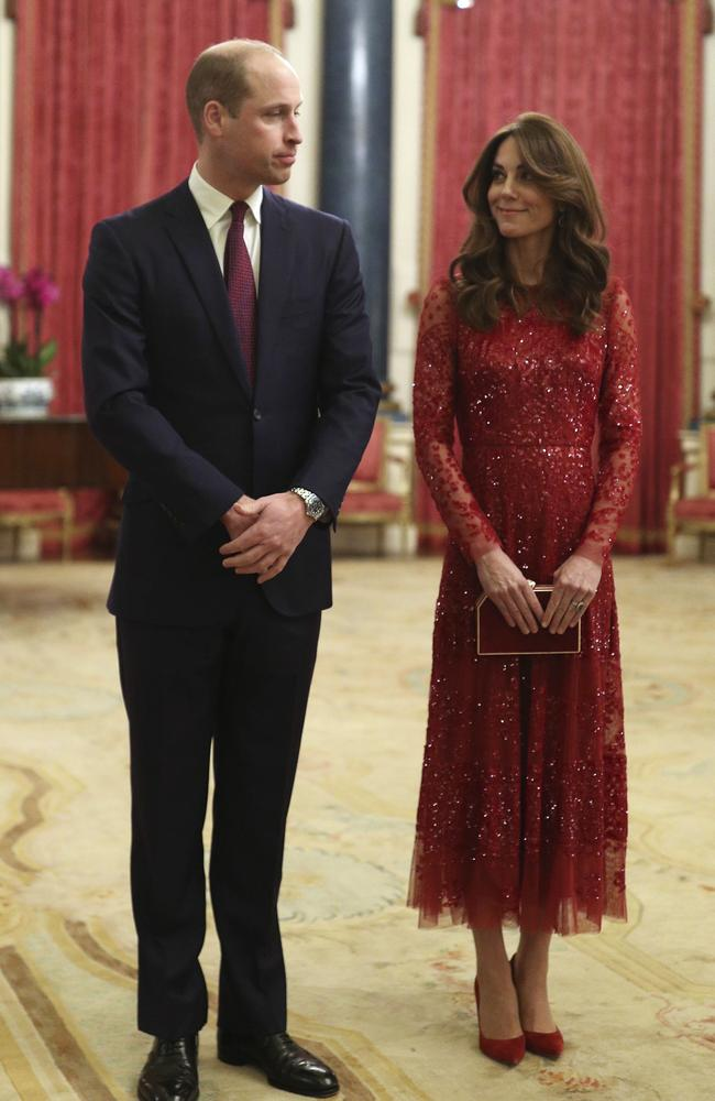 Britain's Prince William, left and Kate, the Duchess of Cambridge host a reception at Buckingham Palace to mark the UK-Africa Investment Summit. Picture: AP