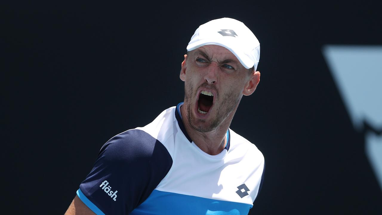 John Millman celebrates his win over Ugo Humbert. Picture: Michael Klein