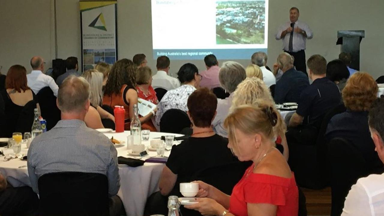 YEAR AHEAD: Mayor Jack Dempsey addresses yesterday's Bundaberg and District Chamber of Commerce Breakfast.
