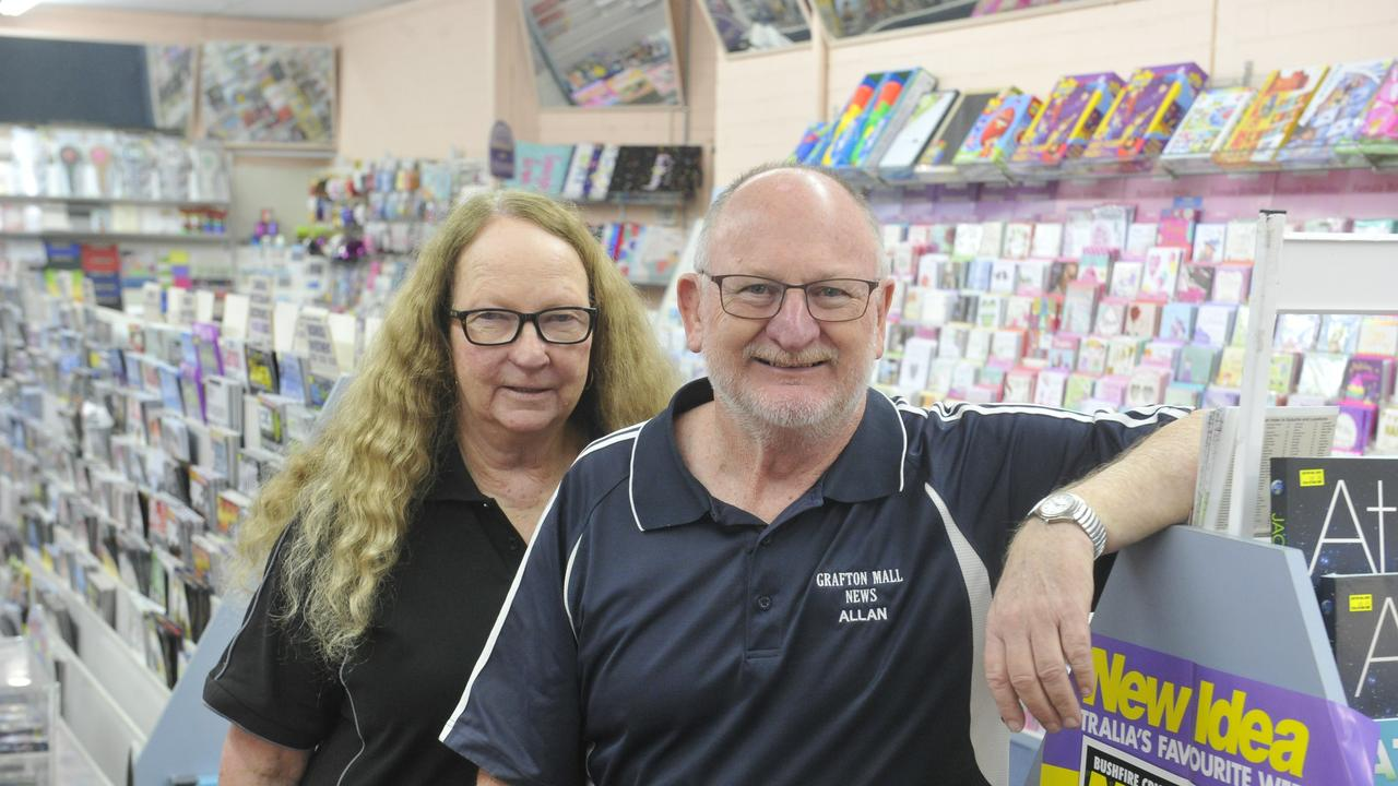 Grafton Mall News owners Allan and Joan Worland celebrate 10 years of business at their beloved news agency.