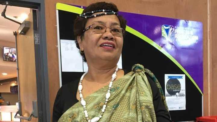 Rita Toledo Clarke dressed in traditional Filipino garbs.