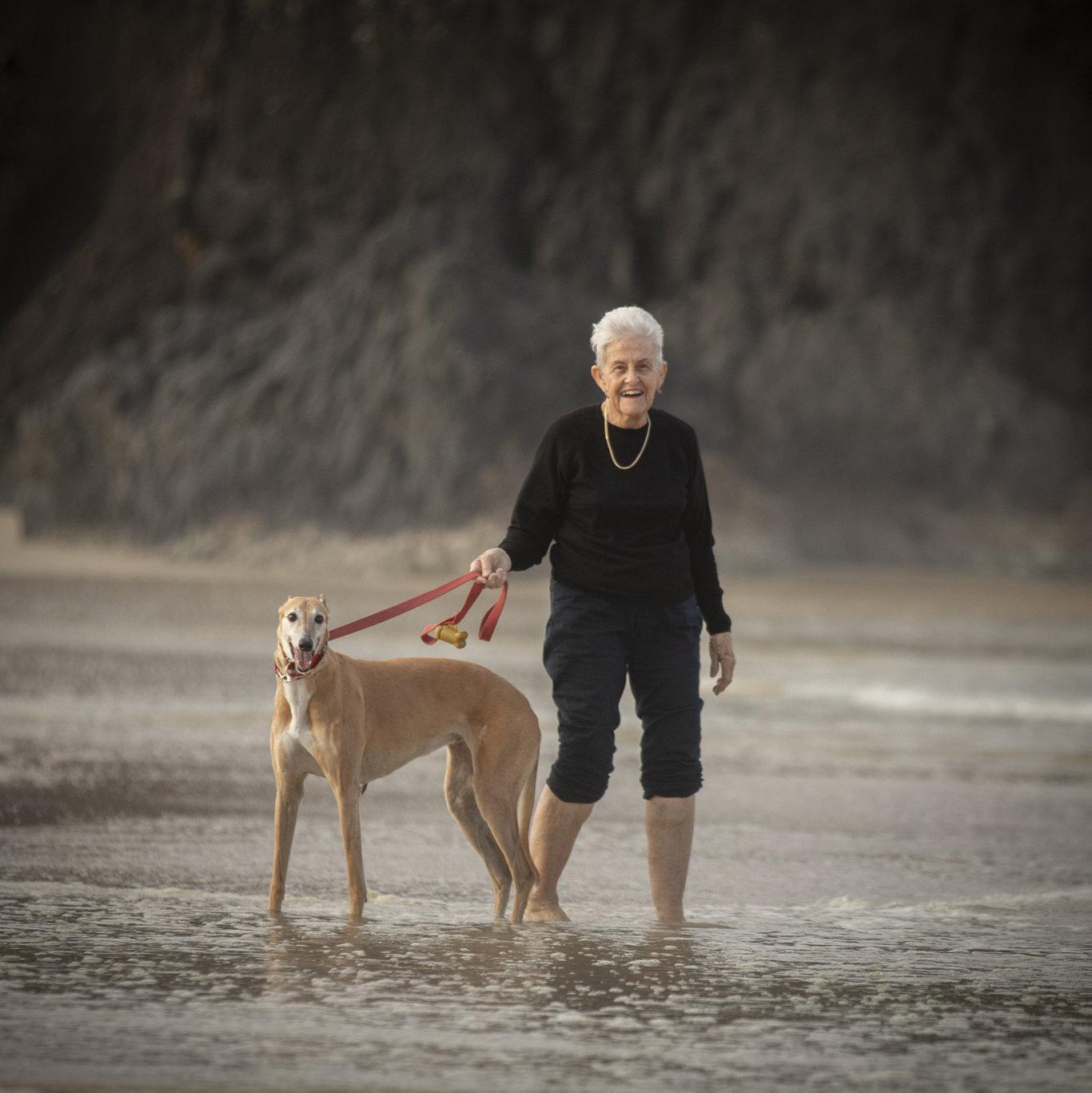 Jan Cruickshank, 78, of Banora Point, NSW with her greyhound.