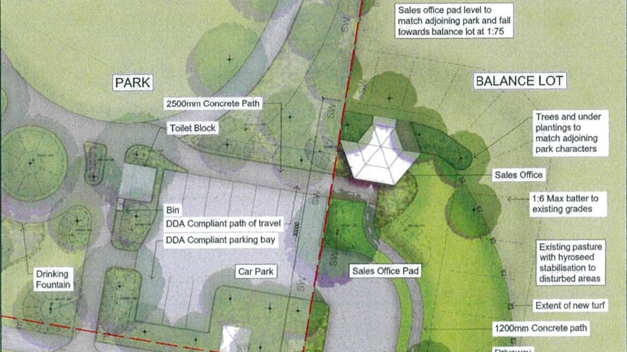 An illustration of the proposed temporary sales office proposed for the North Lismore Plateau site, which is currently on public exhibition at the Lismore City Council.