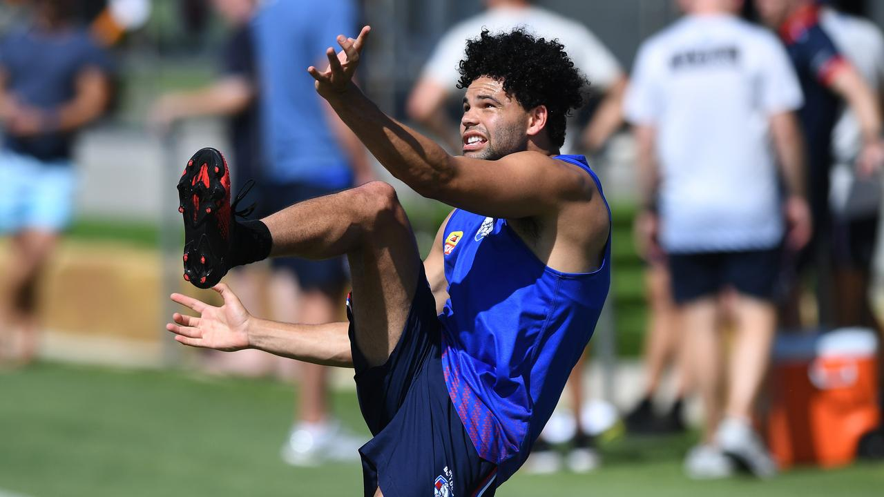 Jason Johannisen has some goalkicking practice. Picture: Warren Lynam