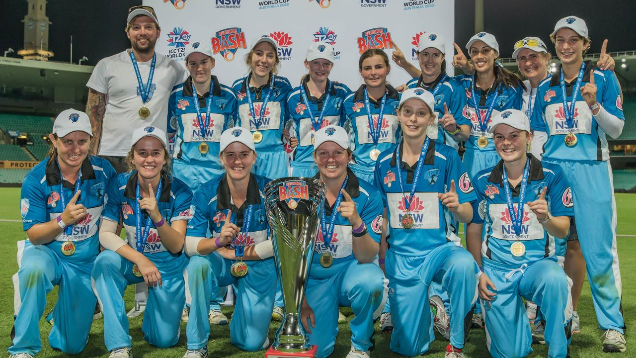 The Coffs Coast Chargers celebrate a win against ACT Aces in the final during the Women's Plan B Regional Bash at the Sydney Cricket Ground on Tuesday, January 22, 2020.