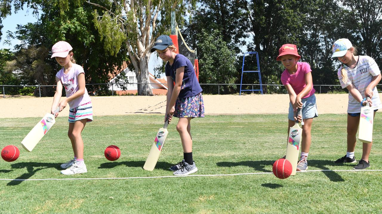 FUTURE STARS: Emma, Elsie, Eliza and Peyton do some batting practice at the Brisbane Heat's girls only school holiday program yesterday. Pictures: Jann Houley