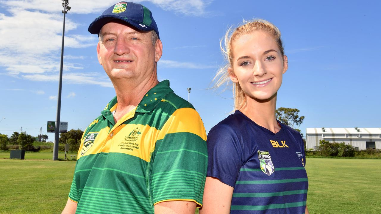 Touch players Kel Lockyer and Georgia Harris. Picture: Tony Martin