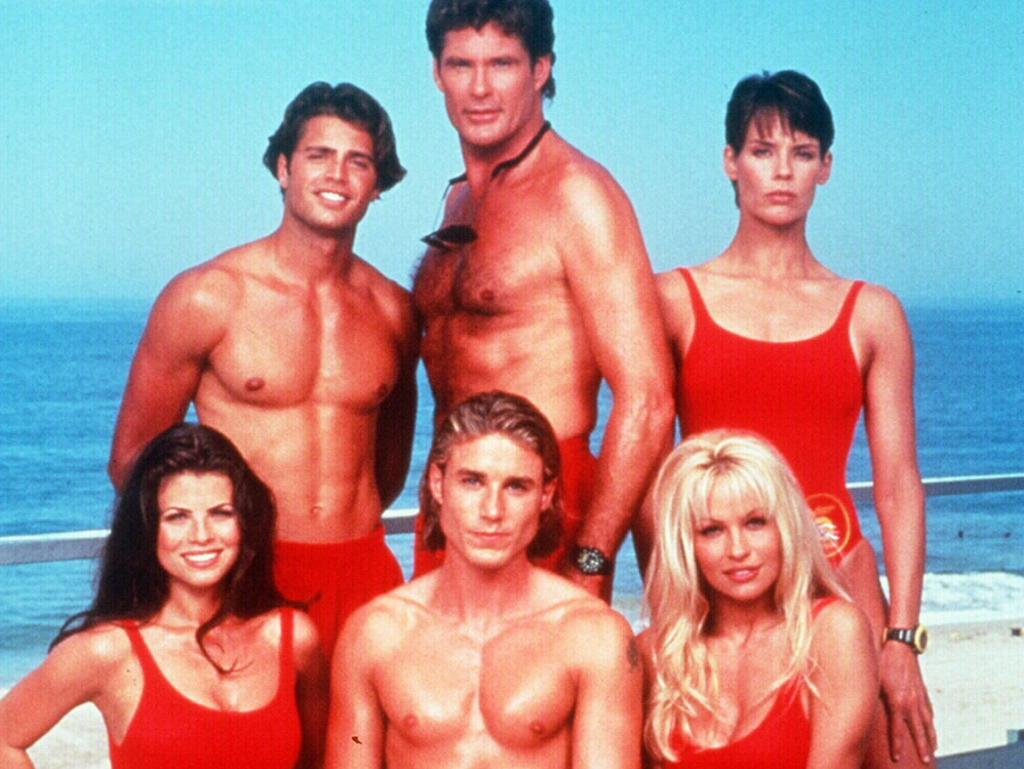 Pamela Anderson, bottom right, with her Baywatch co-stars in 1994. Picture: Supplied
