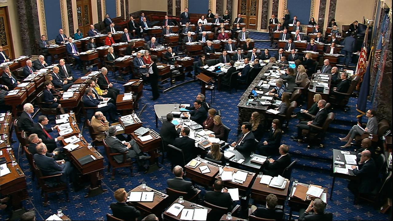 Senators inside the chamber weren't allowed to drink coffee or have any electronic devices. Picture: Senate Television/AP