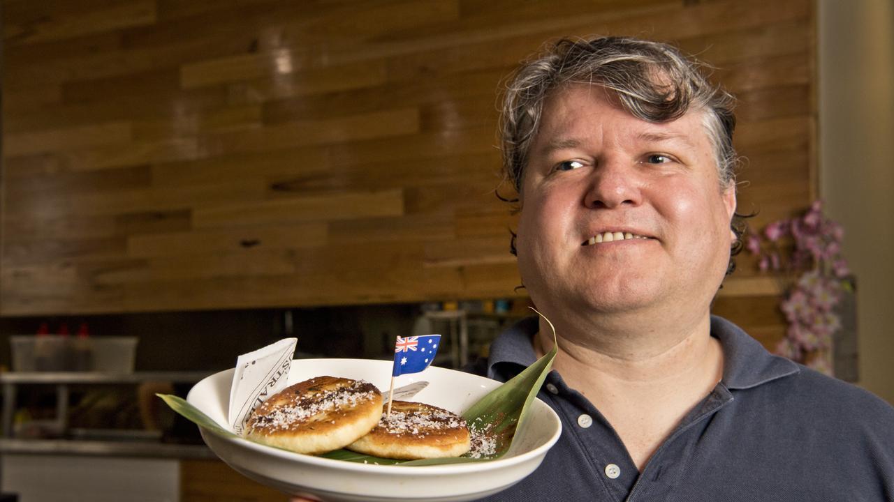 Jeff Brady with lamington flavour pancakes at Kajoku restaurant.