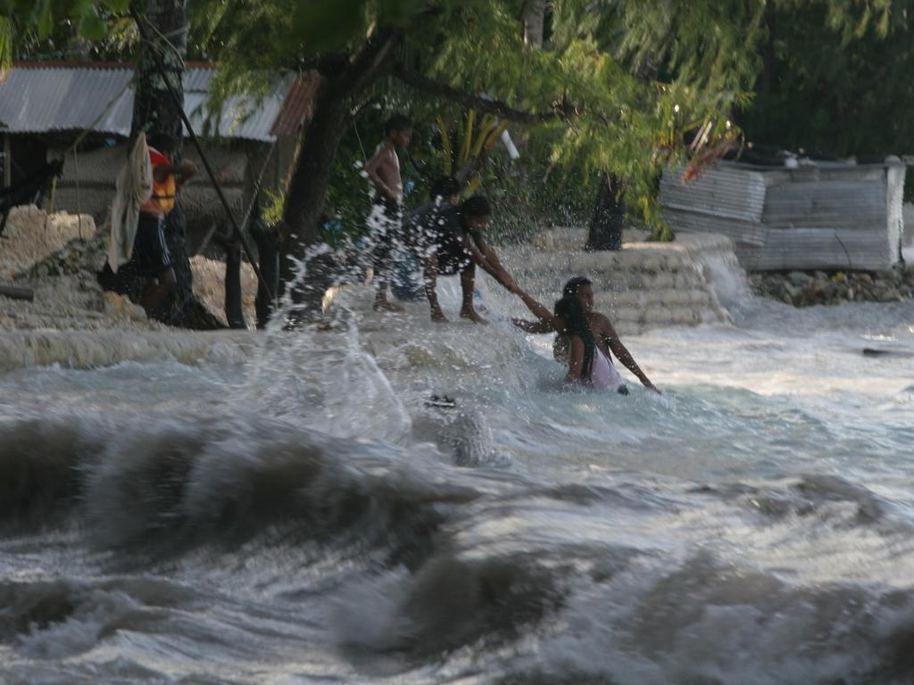 Tarawa island in Kiribati Islands during a king tide.