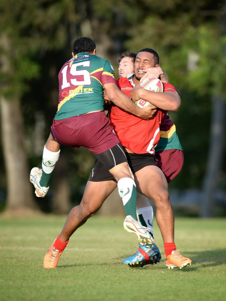 Colts' Dylan Tiaaleaiga gave Pioneers' defenders a hard time in Saturdays game.Photo Allan Reinikka / The Morning Bulletin