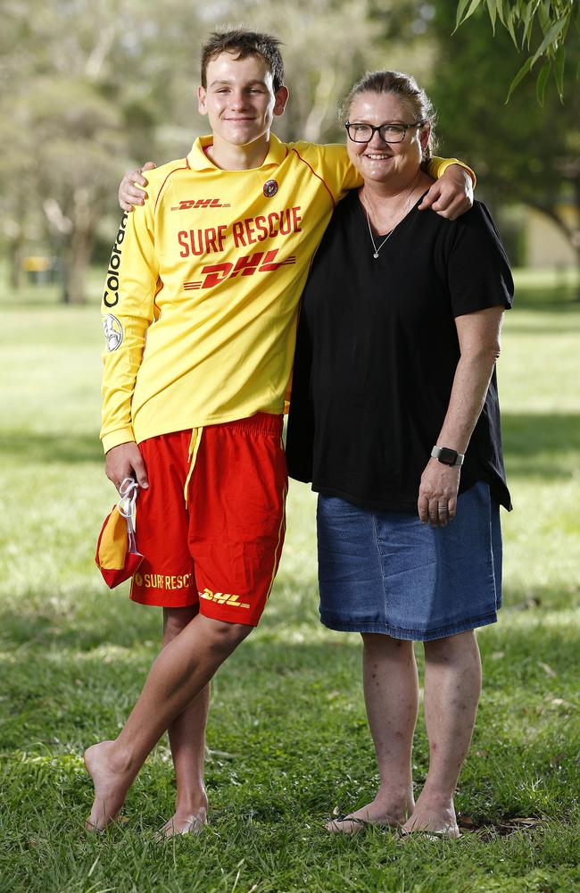 Clayton with his proud mum Lea-Anne Schilg. Picture: AAP/Josh Woning