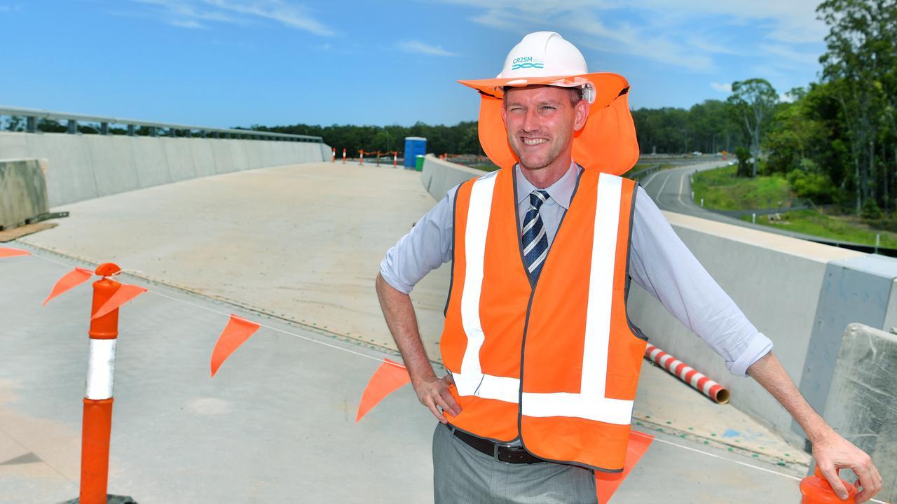 Transport and Main Roads Minister Mark Bailey inspects the $812 million Bruce Highway upgrade on the Sunshine Coast near Tanawha. Photo: John McCutcheon