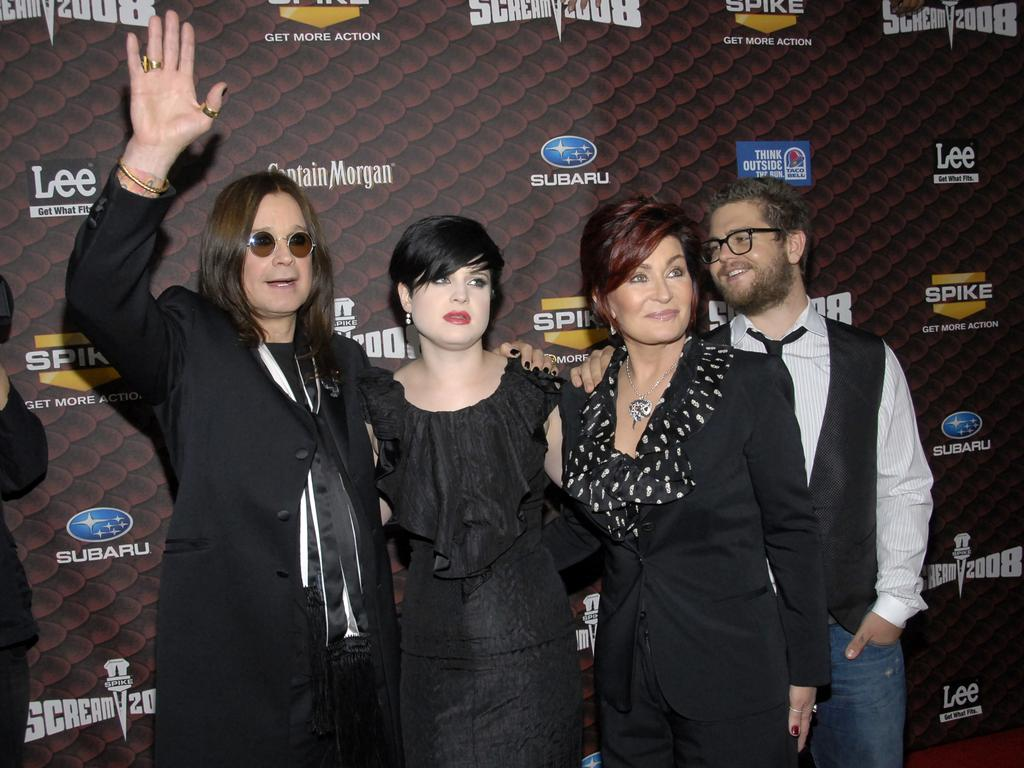 From left, Ozzy Osbourne, Kelly Osbourne, Sharon Osbourne and Jack Osbourne in 2008. Picture: AP