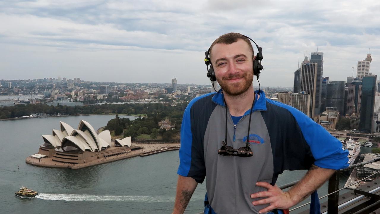 Sam Smith climbing the Sydney Harbour Bridge on a previous trip Down Under.