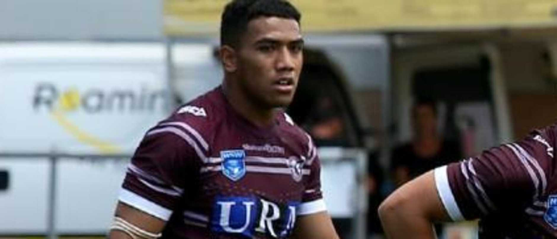 Young Manly star Albert Hopoate (left) in action for the Sea Eagles. AAP