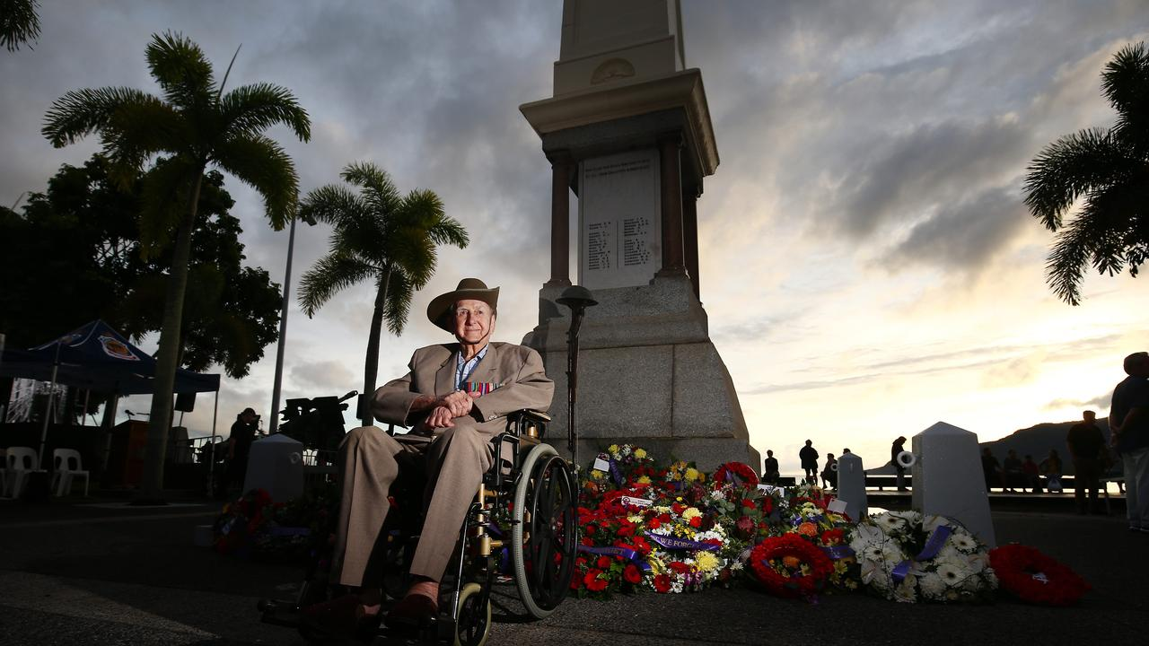 TRIBUTE: Cairns WWII veteran and former Australian Infantry Battalion gunner David Bradley, 94, never missed the Anzac Day dawn service in Cairns. True to form, he turned out with his family at the Cairns Esplanade on April 25 last year. Picture: BRENDAN RADKE