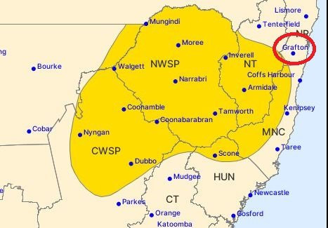 Grafton was not included in the Bureau of Meteorology's severe thunderstorm warning.