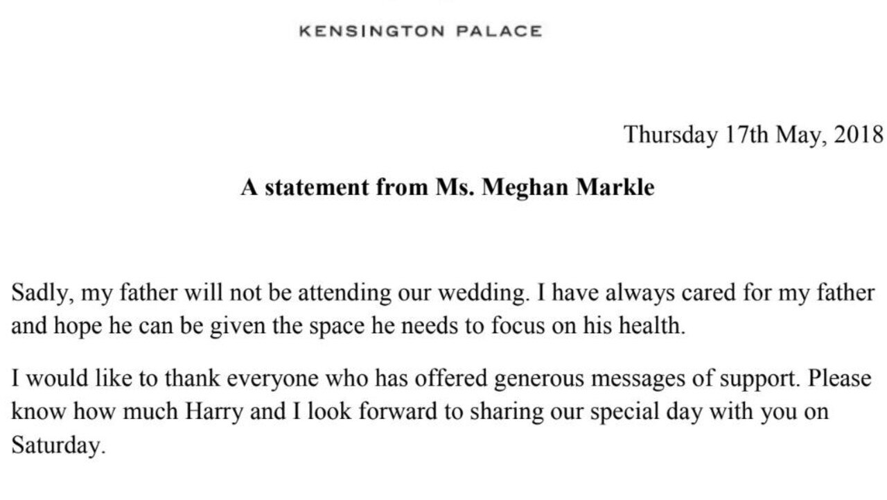 A statement from Kensington Palace from Meghan Markle prior to the royal wedding.