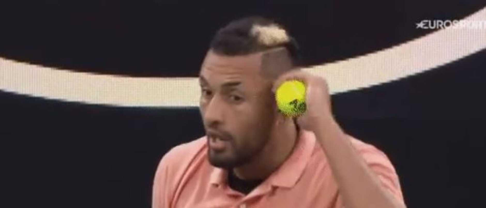 Nick Kyrgios mocks Rafael Nadal's service routine.