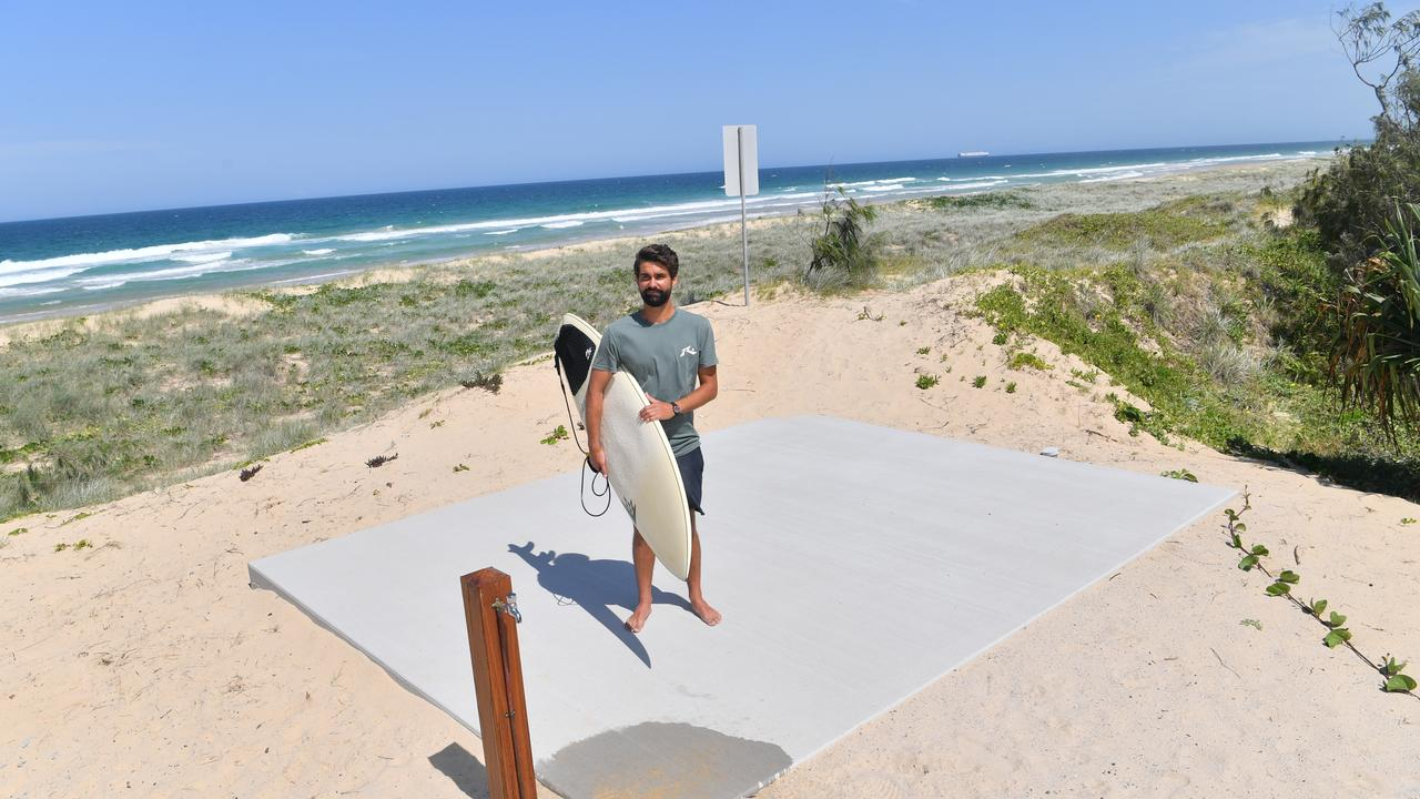 Jayden Lowrie witnessed his father rescue a novice surfer at Bokarina Beach on the weekend, and said opening a new access without a lifeguard tower is a disaster waiting to happen. Picture: John McCutcheon