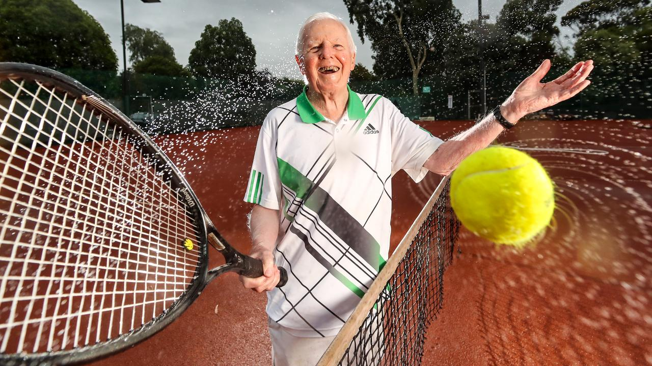 Bruce Holloway, at age 92, still plays tennis at the North Balwyn Tennis Club. The Garvan Institute has mapped the genomic data of 4,000 Australians aged over 70 who have never developed cancer, heart disease or dementia. Picture: Alex Coppel