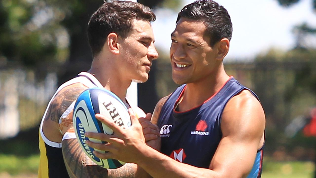 Sonny Bill Williams and Israel Folau at Moore Park playing fields. Picture: Supplied