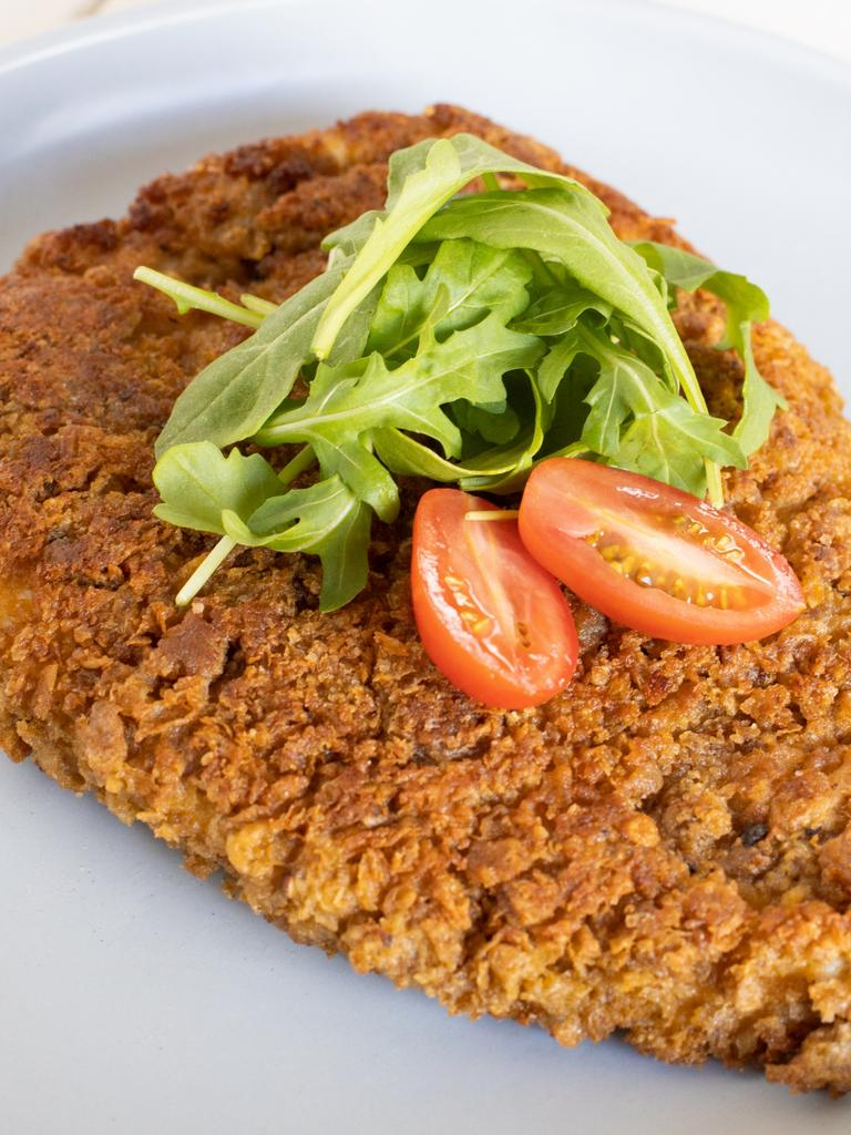 The crunchy Weetbix crumbed chicken schnitzel