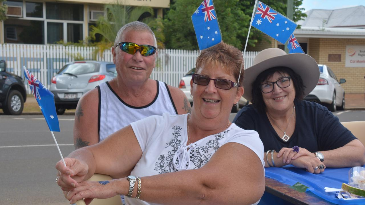 FAIR DINKUM FRIENDS FRIENDS: Allan Steggall, Noreen Wessling and Charmane Woods enjoy a morning out at the Wondai Australia Day breakfast in 2019. Photo: File