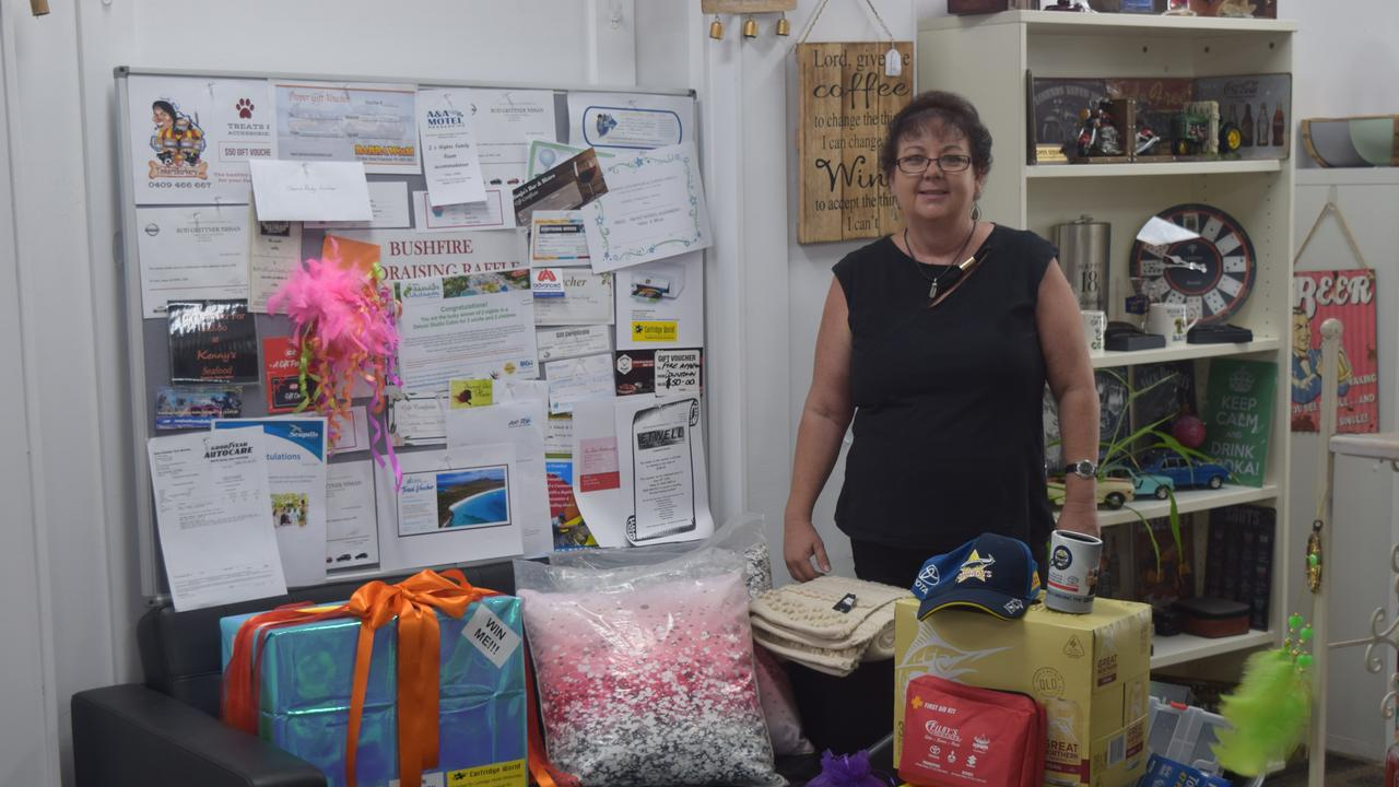 Owner of Everything Office and More Tracey Cameron with prizes and vouchers that were generously donated for the raffle which will be drawn today. Image: Laura Thomas