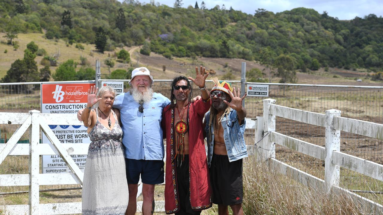 PROUD MEMBERS: Aunty Robine Kay, Bundjalung Elders Council chair and North Lismore Plateau Protection Association Mickey Ryan, Lewis Walker and Robert Corowa protest the North Lismore Plateau development. Photo: Marc Stapelberg