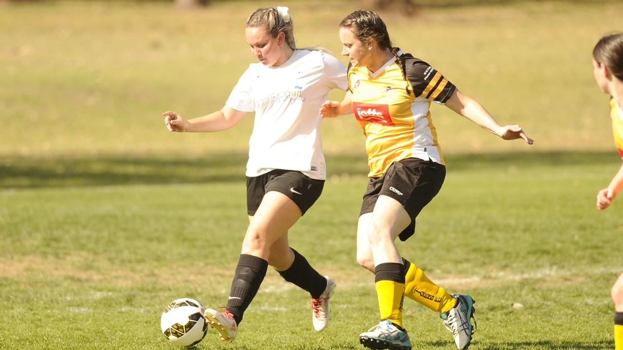 Yamba's Nicole Horwood looks for an outside option during the North Coast Football women's second division north grand final between Westlawn Tigers and Yamba Breakers at Barnier Park last season.