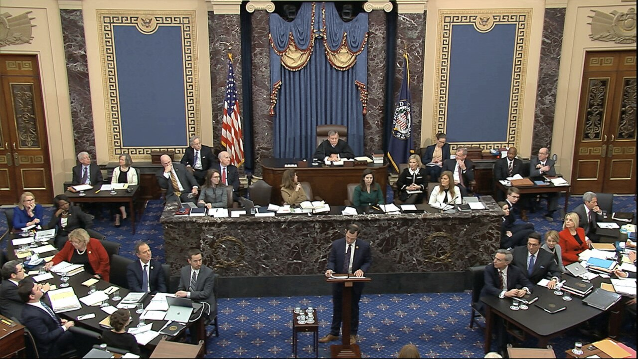 In this image from video, House impeachment manager Rep. Jason Crow, D-Colo., pauses as he speaks during the impeachment trial against President Donald Trump in the Senate at the U.S. Capitol in Washington, Wednesday, Jan. 22, 2020. (Senate Television via AP)