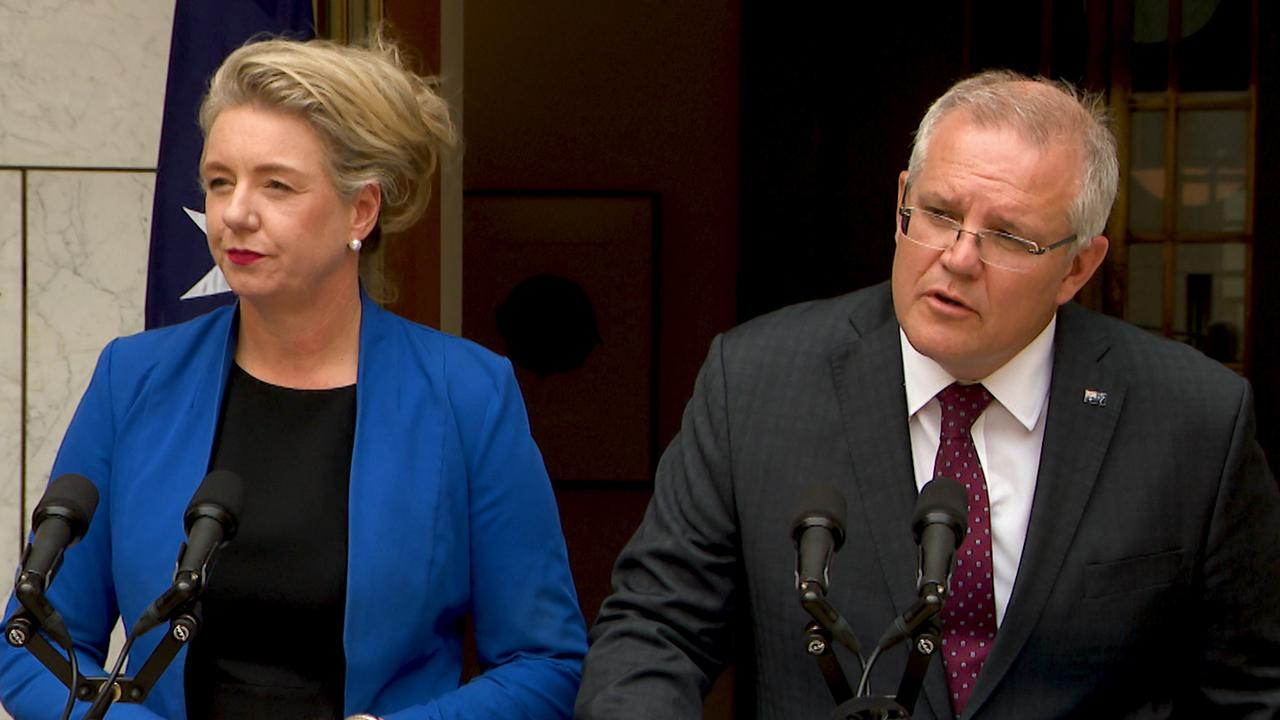 Minister for Agriculture Bridget McKenzie and Prime Minister Scott Morrison speak to the media during a press conference at Parliament House in Canberra, Tuesday, January 14, 2020. Picture: Marc Tewksbury/AAP