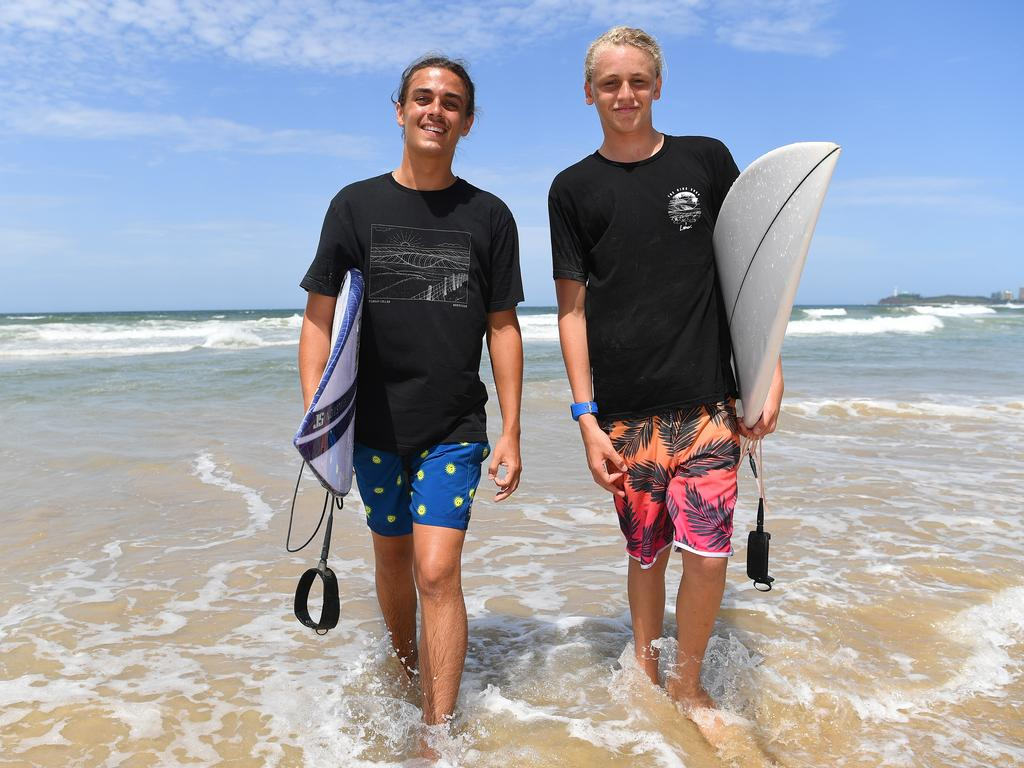 Dane and Karter Pinder rescued a group of swimmers at Coolum from certain death on Tuesday.