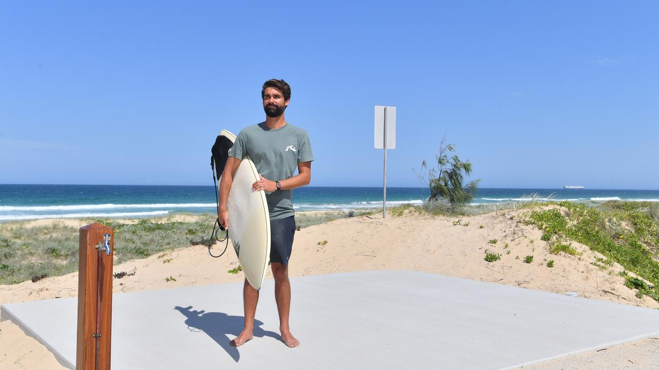 Surfer Jayden Lowrie has witnessed others, including his father, put their lives in danger after people chose to swim at the unpatrolled Bokarina Beach. Picture: John McCutcheon