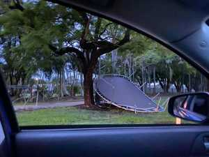 Trampolines in Grafton storm