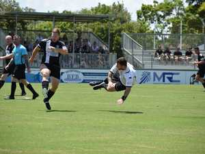Josh James (right) goes airborne after sending a