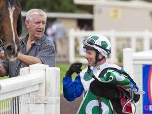 Trainer Tony Webb chats with winning jockey Nathan