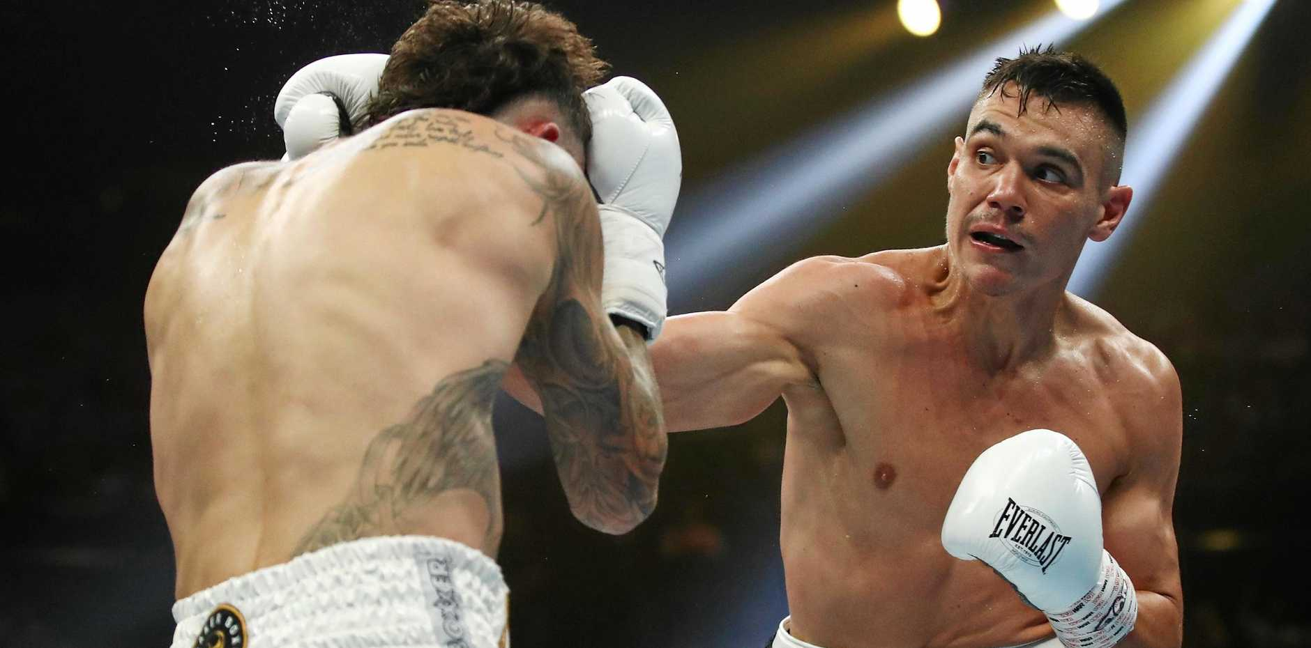 Tim Tszyu lands a punishing blow on Jack Brubaker during their IBF Australasian super welterweight title fight in Sydney on December 6 last year. Picture: Brendon Thorne/AAP